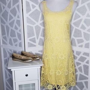 LAUREN Midi Crochet Slip Dress   Yellow   Size Med